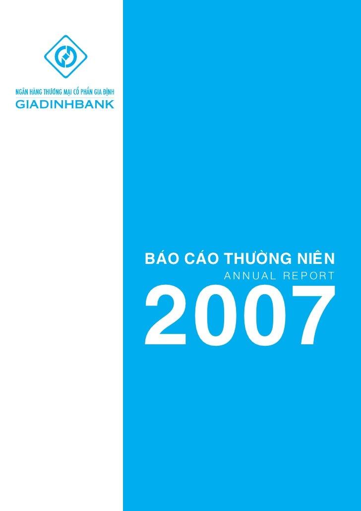 BAÙO CAÙO THÖÔØNG NIEÂN2007         ANNUAL REPORT