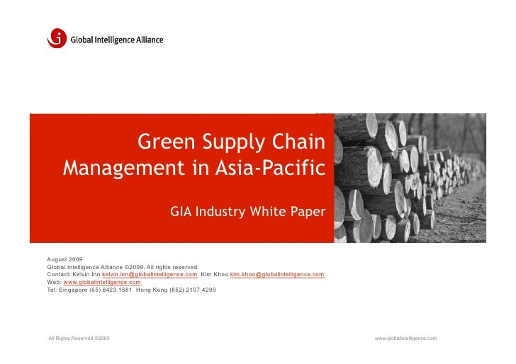 Green Supply Chain      Management in Asia-Pacific                                          GIA Industry White Paper   Aug...