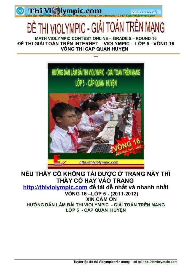 Đề thi giải toán trên mạng lớp 5 - vòng huyện - 2012 -2013