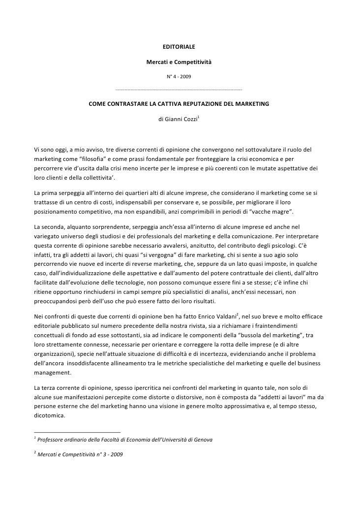Gianni Cozzi   la reputazione del marketing