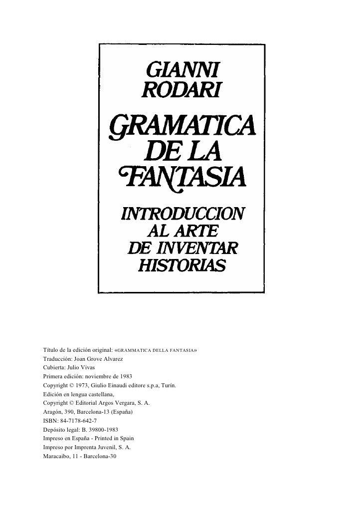 Gianni rodari gramática de la fantasía   introducción al arte de inventar historias