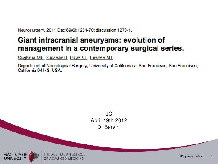 Giant intracranial aneurysms bervini