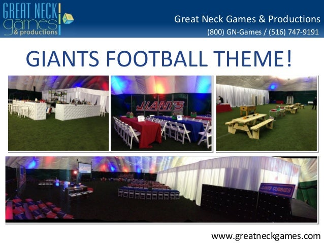 Great Neck Games & Productions (800) GN-Games / (516) 747-9191  GIANTS FOOTBALL THEME!  www.greatneckgames.com