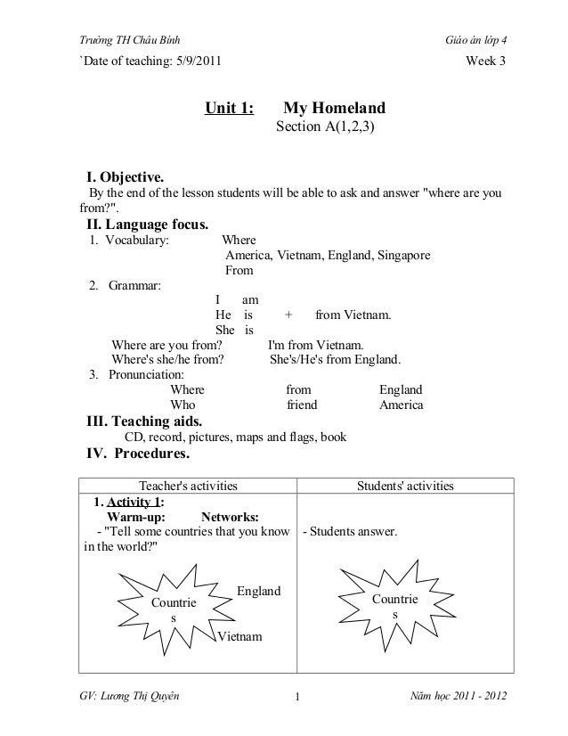 Trường TH Châu Bính                                                   Giáo án lớp 4`Date of teaching: 5/9/2011            ...