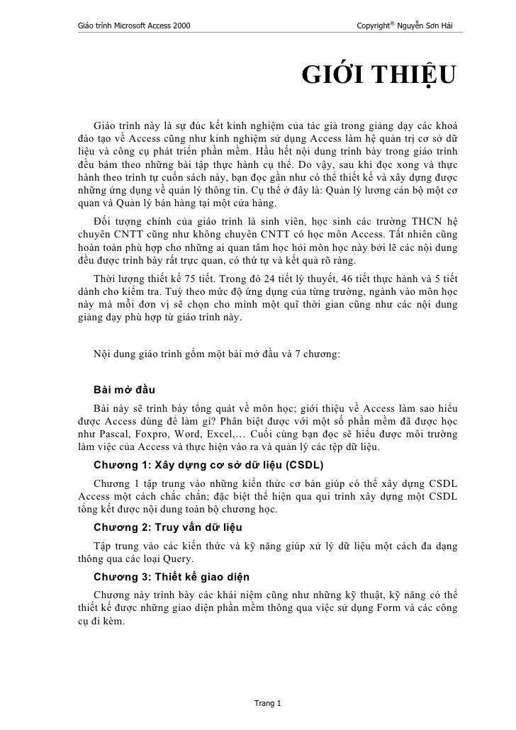 Giáo trình Microsoft Access 2000                               Copyright® Nguyễn Sơn Hải                                  ...