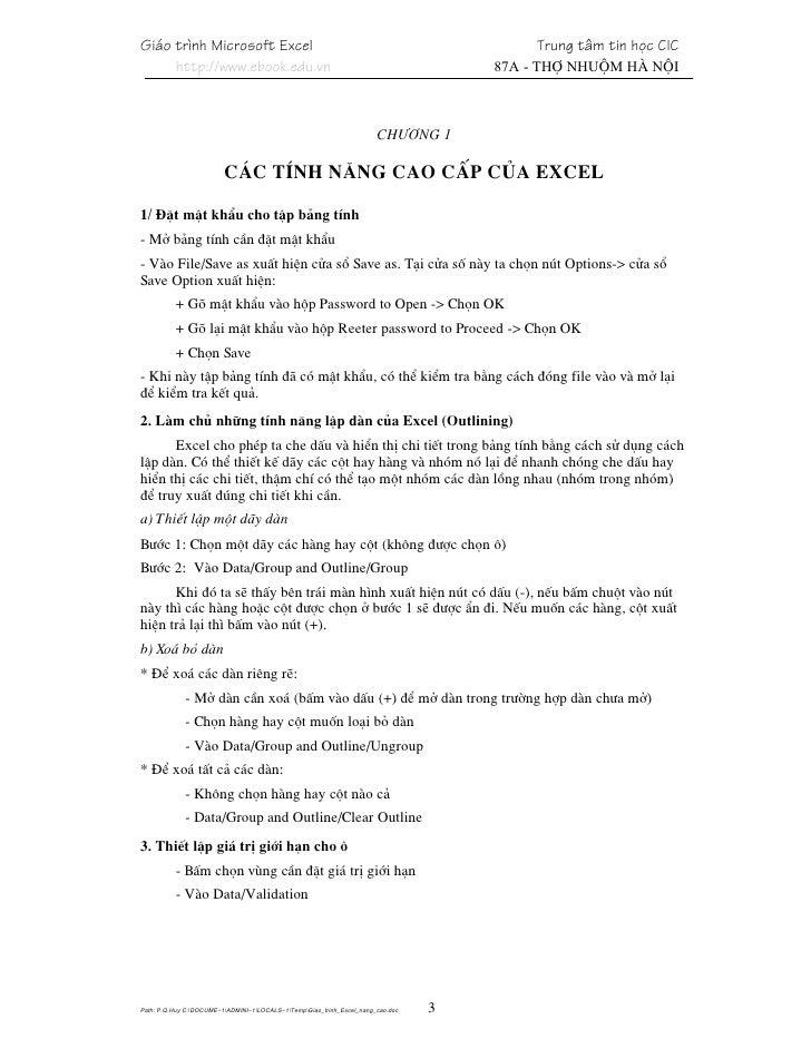Giao Trinh Excel Nang Cao