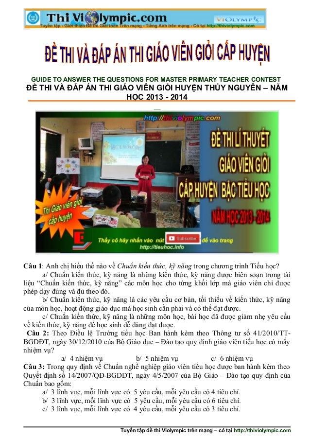 Đề thi Hội thi Giáo viên giỏi cấp tiểu học