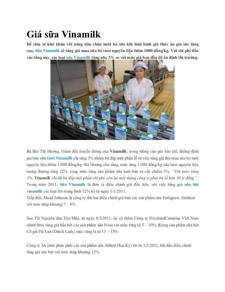 Giá sữa VinamilkĐể chia sẽ khó khăn với nông dân chăn nuôi bò sữa khi tình hình giá thức ăn gia súc tăngcao, Sữa Vinamilk ...
