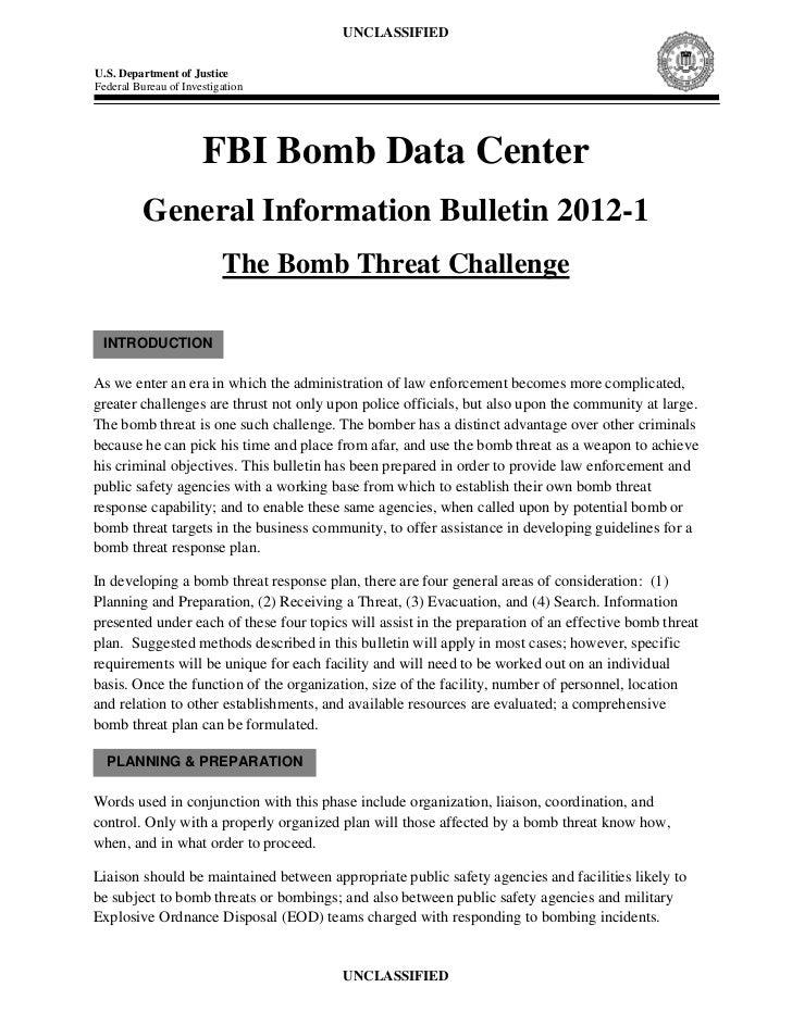 FBI Bomb Data Center General Information Bulletin 2012-1: The Bomb Threat Challenge
