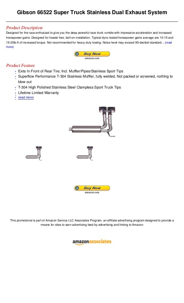 Gibson 66522 super truck stainless dual exhaust system