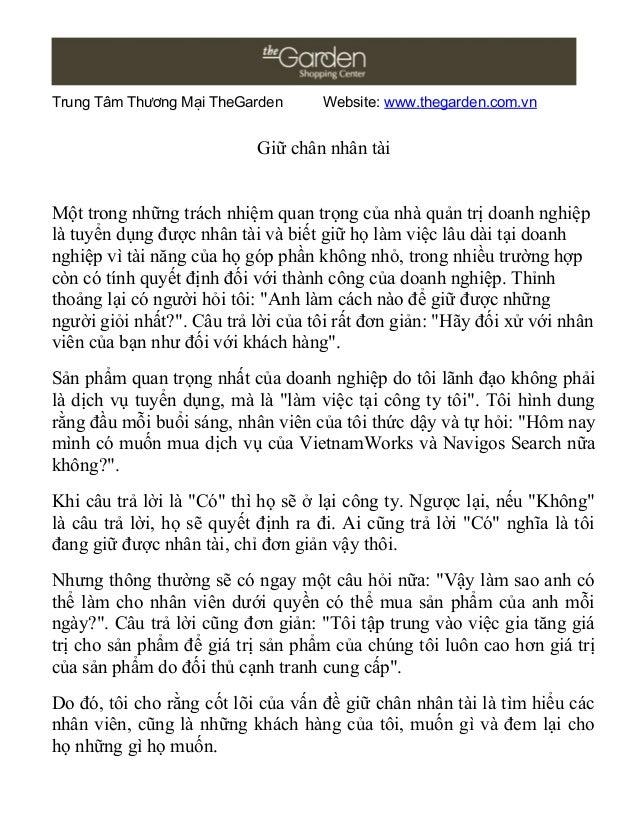 Trung Tâm Thương Mại TheGarden      Website: www.thegarden.com.vn                           Giữ chân nhân tàiMột trong nhữ...