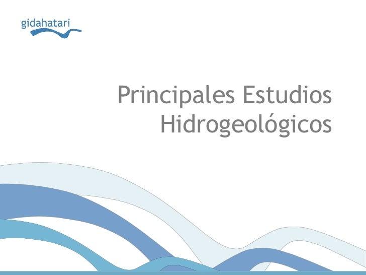 Principales estudios hidrogeologicos
