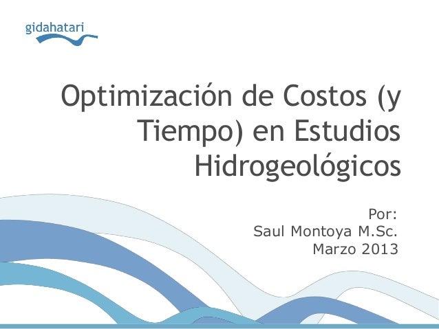 Optimización de Costos (yTiempo) en EstudiosHidrogeológicosPor:Saul Montoya M.Sc.Marzo 2013