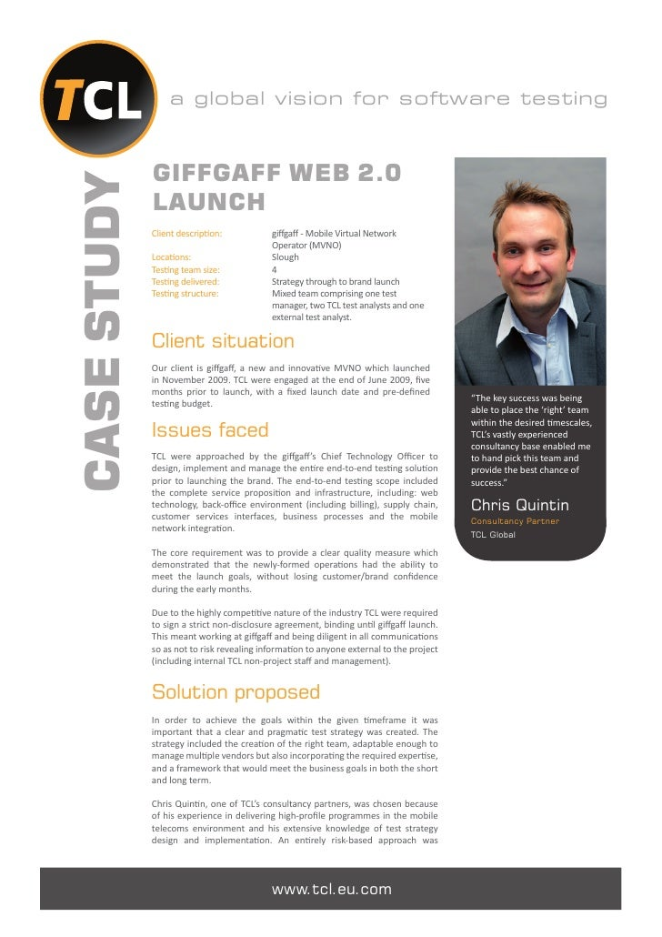 a global vision for software testing             GIFFGAFF WEB 2.0CASE STUDY             LAUNCH             Client descript...