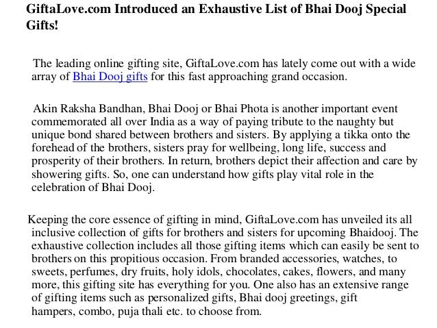 Gifta love.com introduced an exhaustive list of bhai dooj special gifts!