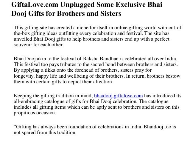 Gifta love.com unplugged some exclusive bhai dooj gifts for brothers and sisters