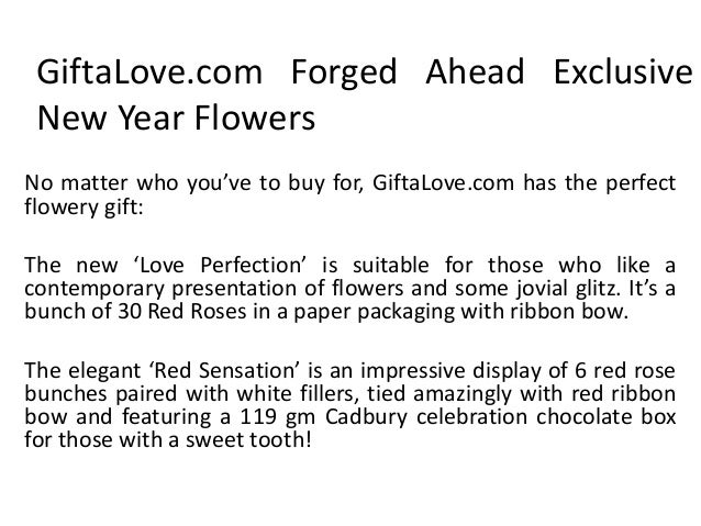 GiftaLove.com Forged Ahead Exclusive New Year Flowers No matter who you've to buy for, GiftaLove.com has the perfect flowe...