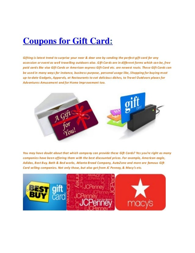 Coupons for Gift Card: Gifting is latest trend to surprise your near & dear one by sending the perfect gift card for any a...