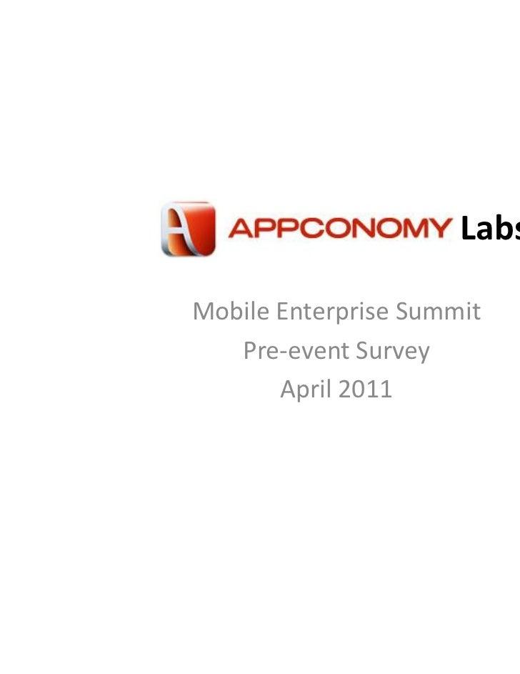 LabsMobile Enterprise Summit   Pre-event Survey       April 2011