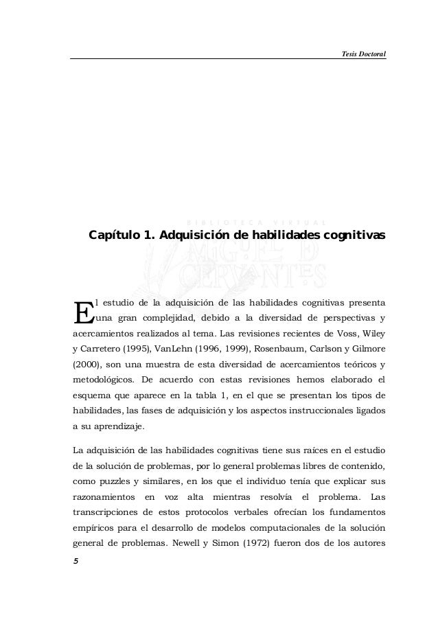 Tesis Doctoral 5 Capítulo 1. Adquisición de habilidades cognitivas l estudio de la adquisición de las habilidades cognitiv...