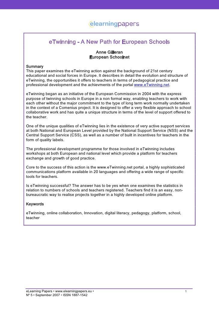 eTwinning - A New Path for European Schools