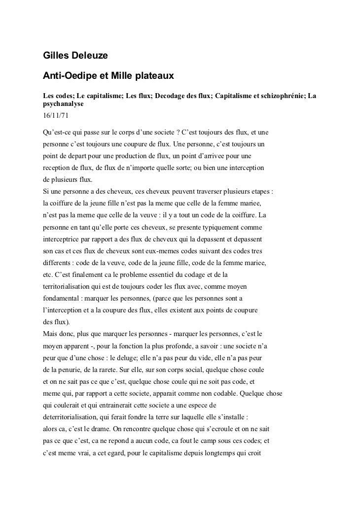 Gilles DeleuzeAnti-Oedipe et Mille plateauxLes codes; Le capitalisme; Les flux; Decodage des flux; Capitalisme et schizoph...
