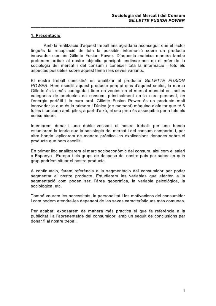 Sociologia del Mercat i del Consum                                         GILLETTE FUSION POWER _________________________...