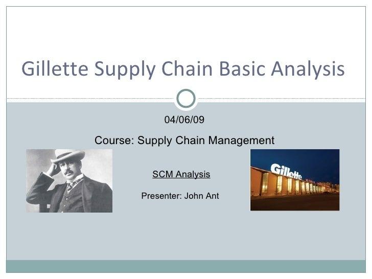SCM Analysis Presenter: John Ant  04/06/09 Course: Supply Chain Management Gillette Supply Chain Basic Analysis