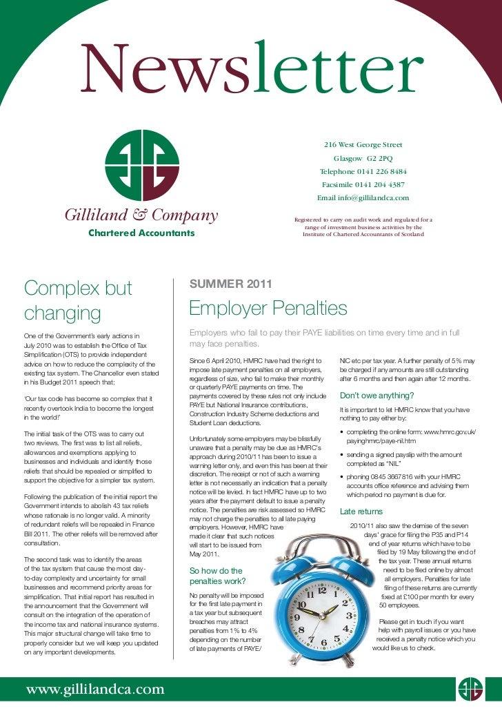 Gilliland Company Newsletter Summer 2011