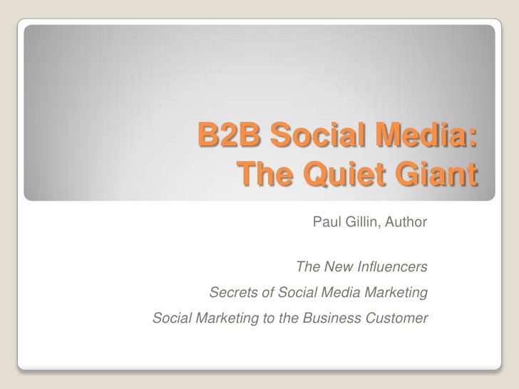 B2B Social Media: The Quiet Giant<br />Paul Gillin, Author<br />The New Influencers<br />Secrets of Social Media Marketing...