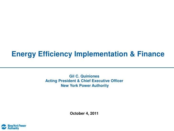 Energy Efficiency Implementation & Finance