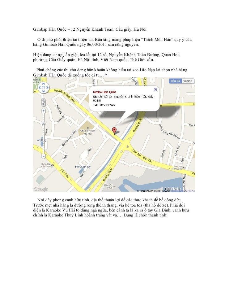 """Gimbap Hàn Quốc – 12 Nguyễn Khánh Toàn, Cầu giấy, Hà Nội  Ơ di phò phò, thiện tai thiện tai. Bần tăng mang pháp hiệu """"Thíc..."""