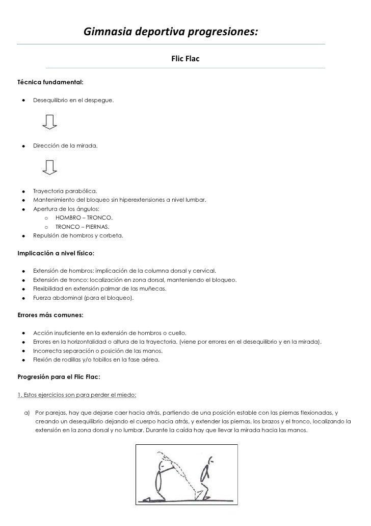Gimnasia deportiva progresiones:                                                          Flic FlacTécnica fundamental:   ...