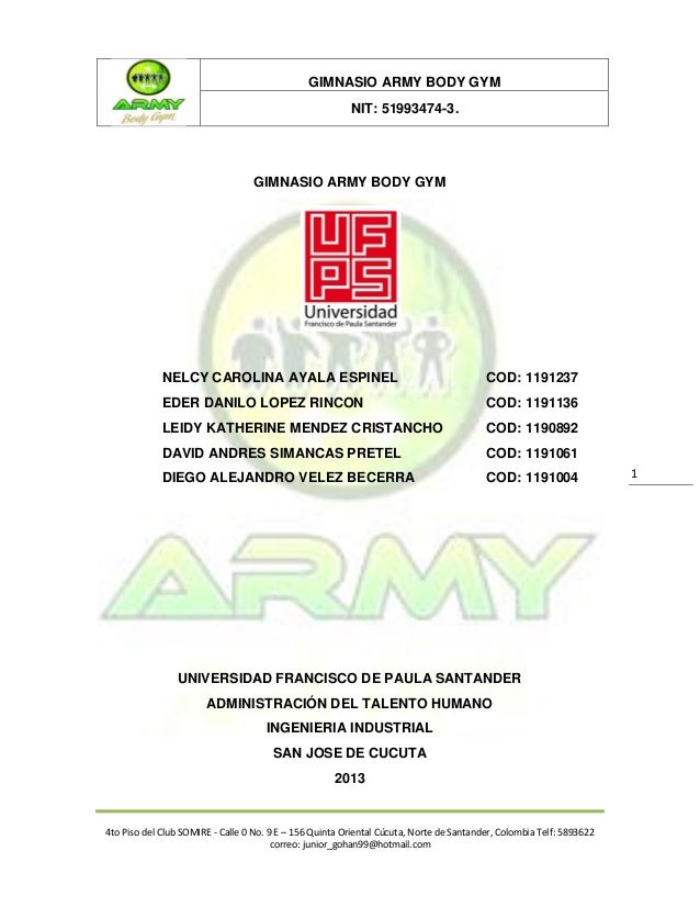 GIMNASIO ARMY BODY GYM                                                         NIT: 51993474-3.                           ...