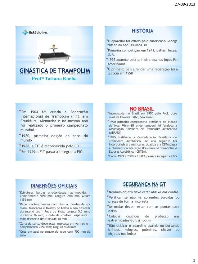 27-09-2013 1 GINÁSTICA DE TRAMPOLIM Profª Tatiana Rocha HISTÓRIA *O aparelho foi criado pelo americano George Nissen no se...