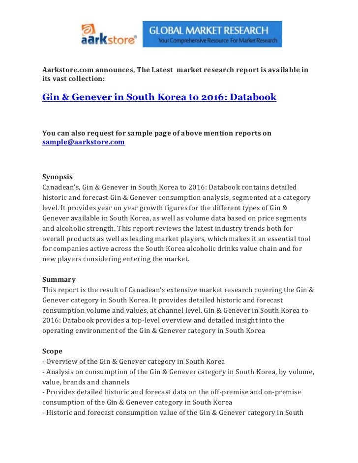 Gin & genever in south korea to 2016 databook