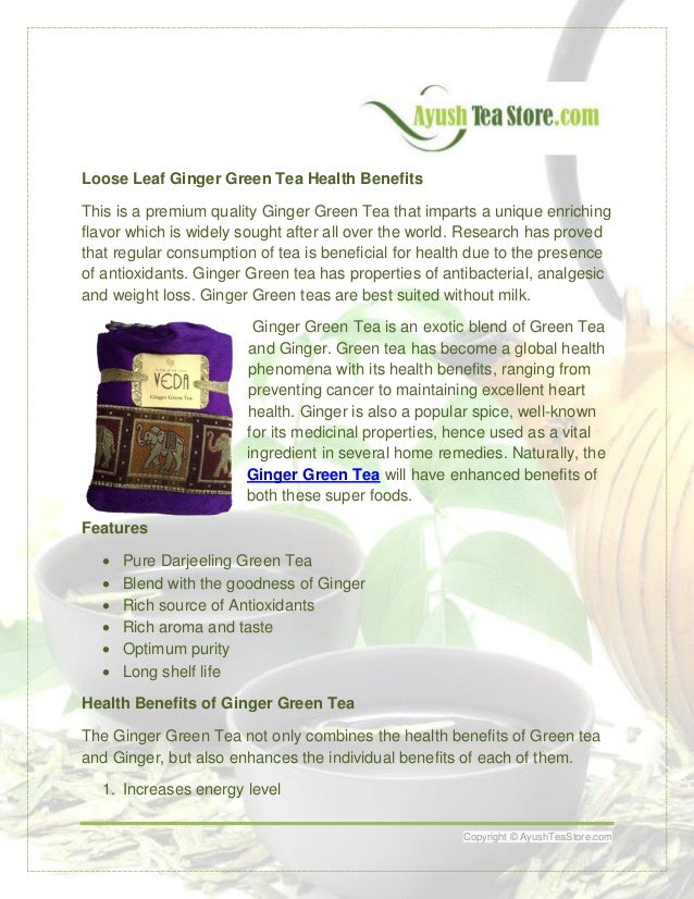 Loose Leaf Ginger Green Tea Health Benefits This is a premium quality Ginger Green Tea that imparts a unique enriching fla...
