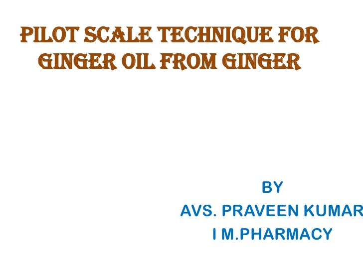 PILOT SCALE TECHNIQUE FORGINGER OIL FROM GINGER<br />BY<br />AVS. PRAVEEN KUMAR<br />I M.PHARMACY <br />
