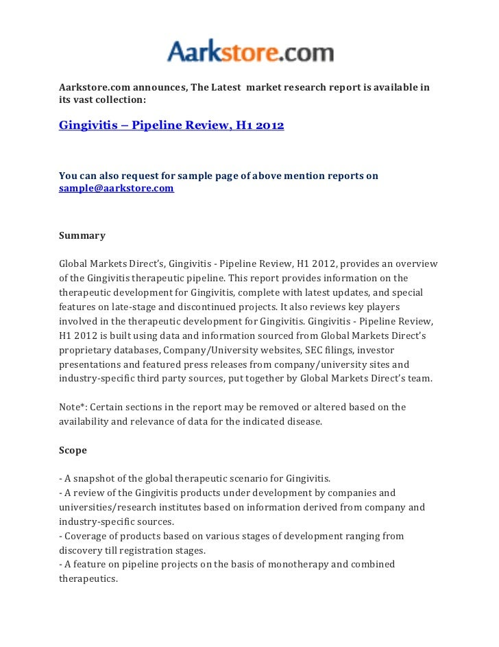 Gingivitis – pipeline review, h1 2012