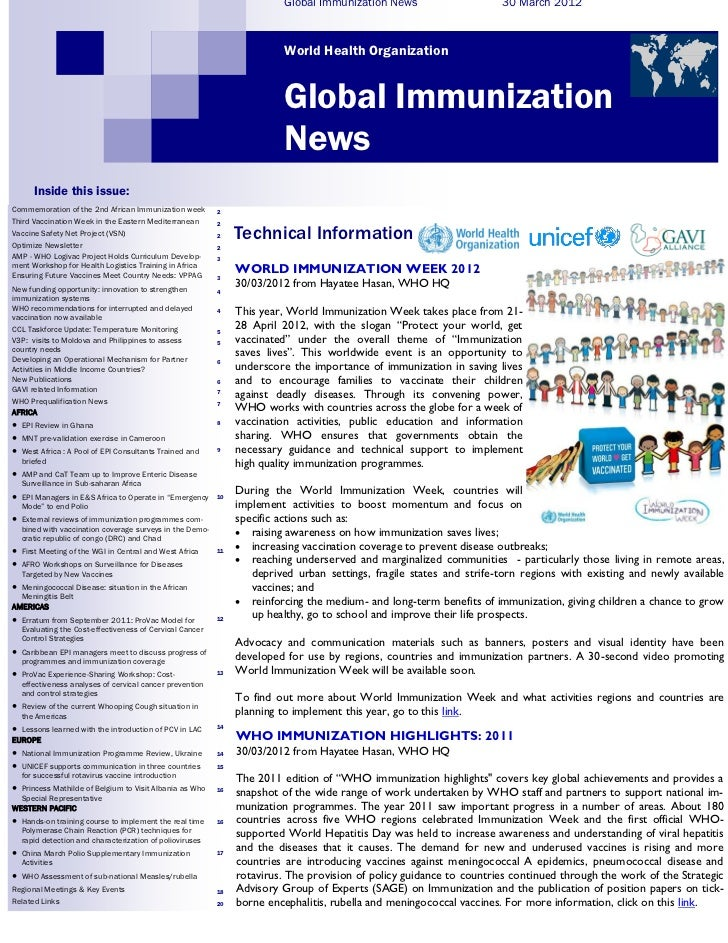 Global Immunization News                     30 March 2012                                                                ...