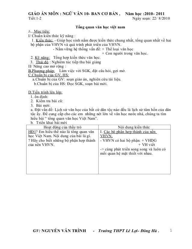 GIÁO ÁN MÔN : NGỮ VĂN 10- BAN CƠ BẢN ,                    Năm học :2010- 2011Tiết:1-2                                     ...