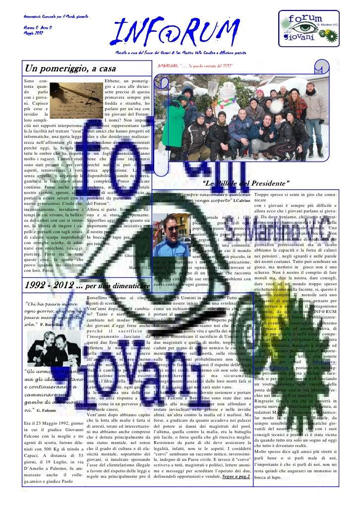 Osservatorio Comunale per il Mondo giovanileNumero 0 Anno 0Maggio 2012                                                    ...