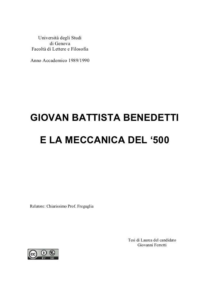 Università degli Studi         di GenovaFacoltà di Lettere e FilosofiaAnno Accademico 1989/1990GIOVAN BATTISTA BENEDETTI  ...