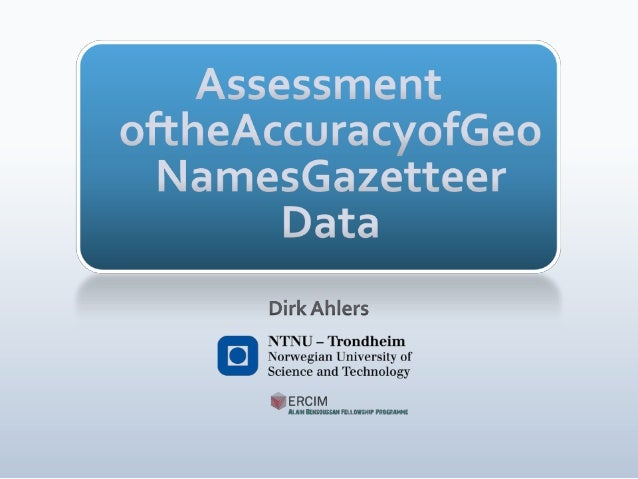 Assessment of the Accuracy of GeoNames Gazetteer Data