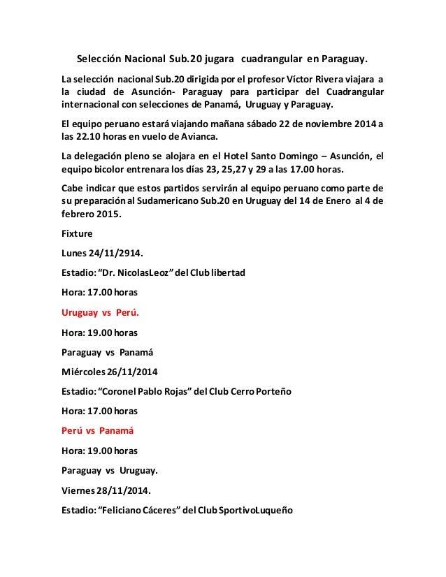 Selección Nacional Sub.20 jugara cuadrangular en Paraguay.  La selección nacional Sub.20 dirigida por el profesor Víctor R...