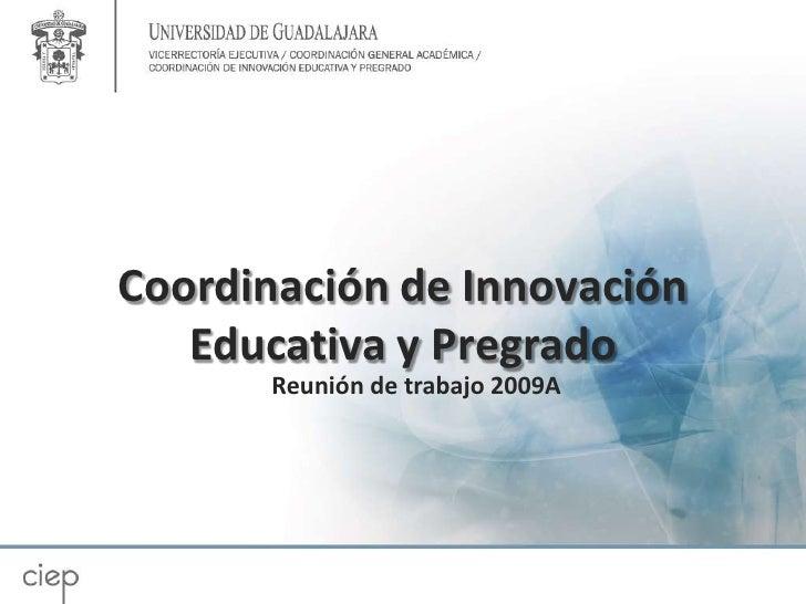 Coordinación de Innovación Educativa y Pregrado<br />Reunión de trabajo 2009A<br />