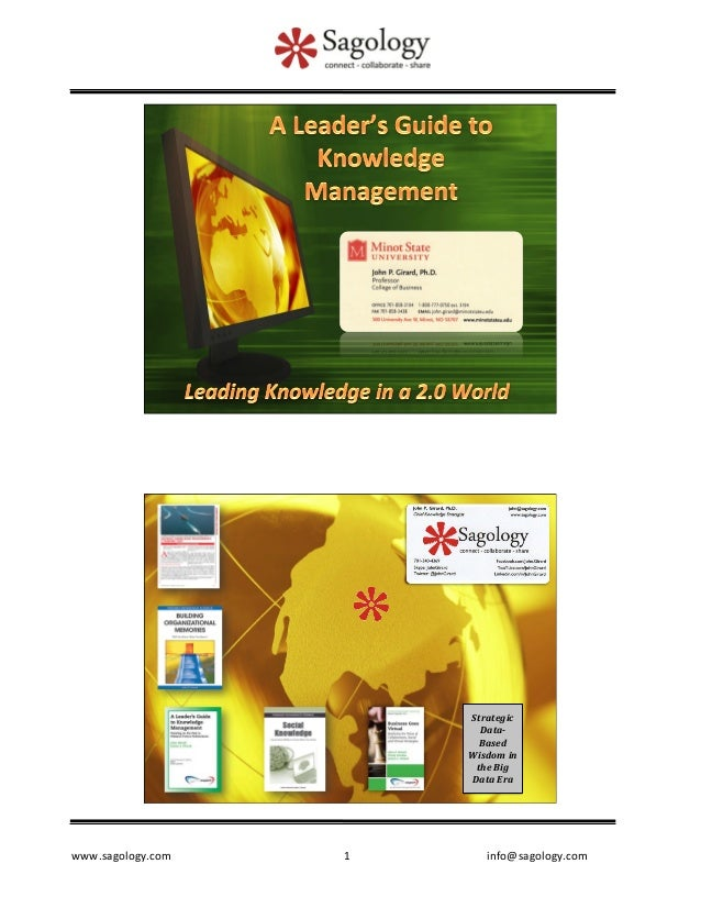 A Leader's Guide to Knowledge Management - International Institute for Applied Knowledge Management's conference