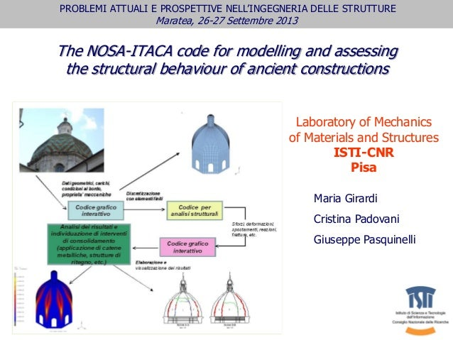 The NOSA-ITACA code for modelling and assessing the structural behaviour of ancient constructions Maria Girardi Cristina P...