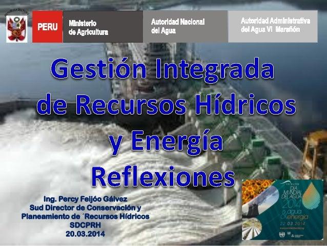 Ing. Percy Feijóo Gálvez Sud Director de Conservación y Planeamiento de ´Recursos Hídricos SDCPRH 20.03.2014