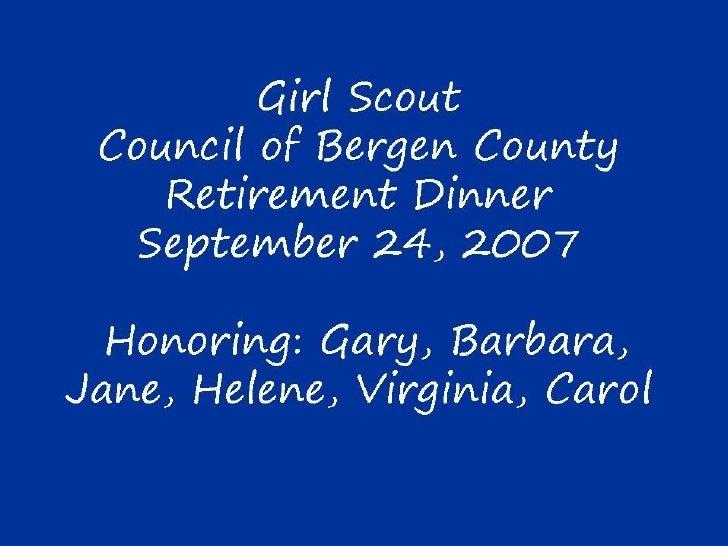 Girl Scout Retirement Dinner Bergen County 2007